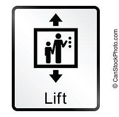 information, ascenseur, signe