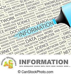 INFORMATION. Background concept wordcloud illustration....
