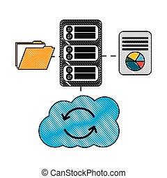information, base données, calculer, serveur, connexion, fichier, nuage