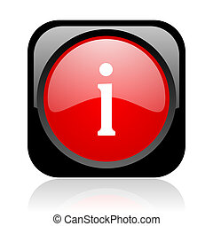 information black and red square web glossy icon