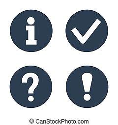 information, blanc, ensemble, arrière-plan., icônes
