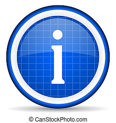 information blue glossy icon on white background