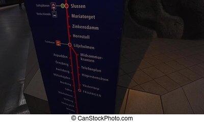 Information board at metro station in Stockholm, station...
