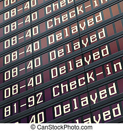 Information board in airport - Flights information board in...