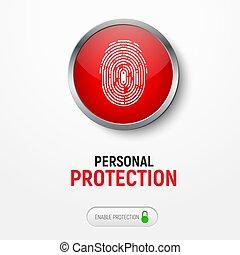 information., botão, desenho, impressão digital, protegendo, branca, bandeira, vermelho