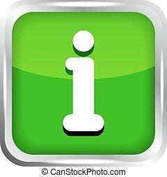 information, bouton, blanc vert, icône