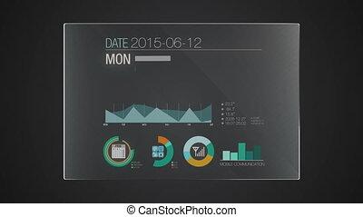information, 'calendar', graphique, application, utilisateur, numérique, interface, technologie, exposer, panneau