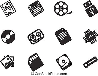 Information carriers icons - Information carriers simply ...