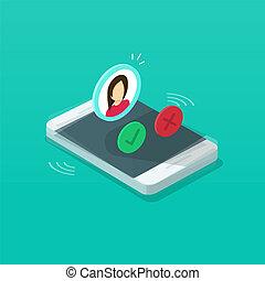 information, cellphone, isométrique, smartphone, sonner, clipart, illustration, mobile, exposer, isolé, vibrer, contact, téléphone, vecteur, appeler, anneau, ou, dessin animé