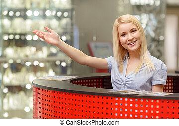 information, centre commercial, achats, bureau