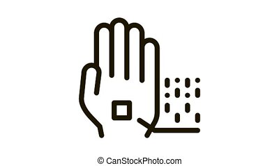 Information Chip On Hand Biomaterial animated black icon on white background