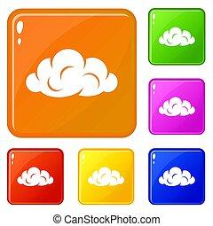 Information cloud icons set color