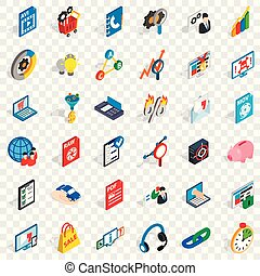 Information cloud icons set, isometric style