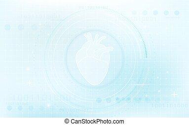 information, coeur, concept, bleu, système, virtuel, avenir, santé, fond, interface, cercle, technologie, soin