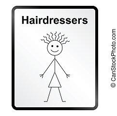 information, coiffeurs, signe