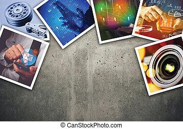 information, collage, photo, moderne, technologie informatique