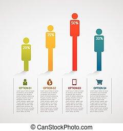 information, coloré, gens, graphiques, -