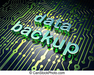 Information concept: circuit board with word data backup