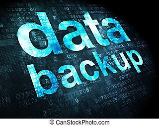 Information concept: pixelated words data backup on digital background, 3d render