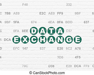 Information concept: Data Exchange on wall background