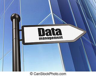 Information concept: Data Management on Building background