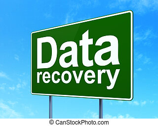 Information concept: Data Recovery on green road highway sign, clear blue sky background, 3D rendering