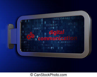 Information concept: Digital Communication and Gears on billboard background