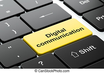 Information concept: Digital Communication on computer keyboard background