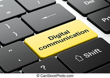 Information concept: Digital Communication on computer keyboard background