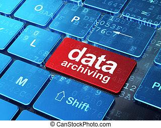 information, concept:, données, archiver, sur, clavier ordinateur, fond