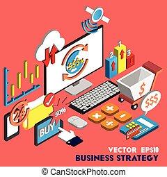 information, concept, ensemble, illustration affaires, stratégie, graphique