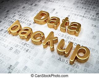 Information concept: Golden Data Backup on digital background