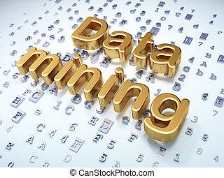 Information concept: Golden Data Mining on digital background