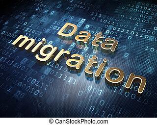 Information concept: Golden Data Migration on digital background, 3d render