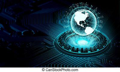 information, concept, grand, données, technologie internet