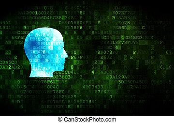 Information concept: Head on digital background