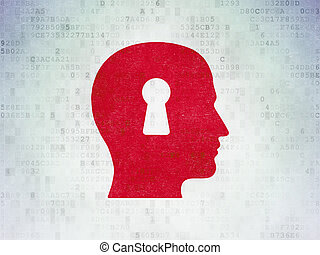 Information concept: Head With Keyhole on Digital Data Paper background