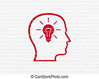 Information concept: Head With Lightbulb on wall background