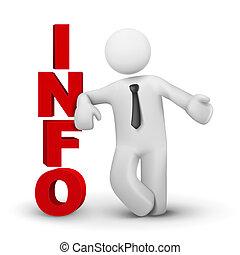 information, concept, mot, business, présentation, homme, 3d