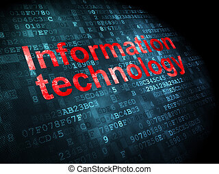 Information concept: pixelated words Information Technology on digital background, 3d render