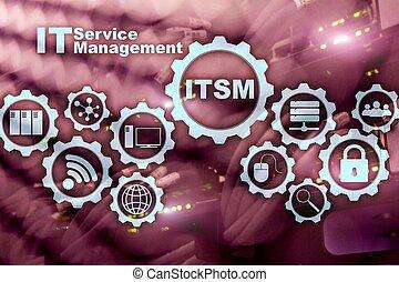 information, concept, service, superordinateur, il, itsm., arrière-plan., gestion, technologie, management.