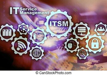 information, concept, service, superordinateur, il, itsm., gestion, fond, technologie, management.