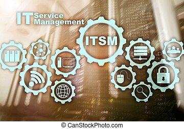 information, concept, service, superordinateur, ?itsm., il, arrière-plan., gestion, technologie, management.