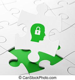 information, concept:, tête, à, cadenas, sur, puzzle, fond