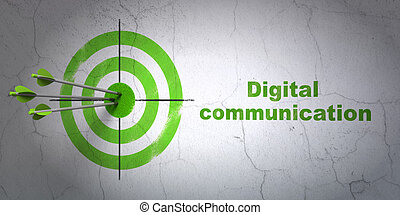 Information concept: target and Digital Communication on wall background