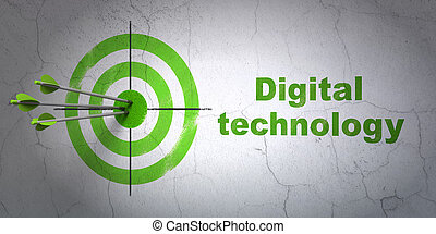 Information concept: target and Digital Technology on wall background