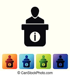 Information desk icon isolated on white background. Man silhouette standing at information desk. Help person symbol. Information counter icon. Set icon in color square buttons. Vector Illustration