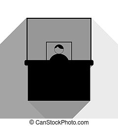 Information Desk sign. Vector. Black icon with two flat gray shadows on white background.
