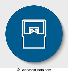 Information Desk sign. Vector. White contour icon in dark cerulean circle at white background. Isolated.
