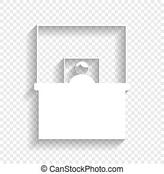 Information Desk sign. Vector. White icon with soft shadow on transparent background.